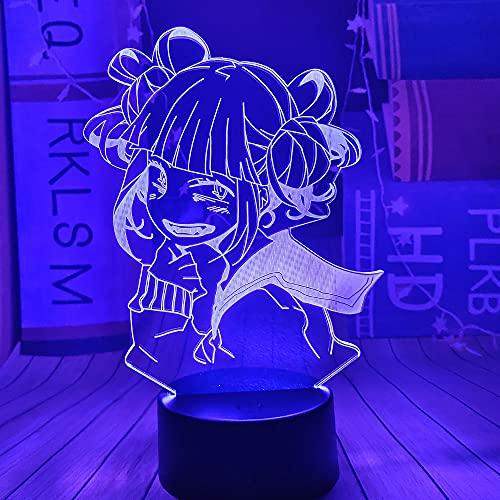 My Hero Academia Luces de noche para niños Himiko Toga Lámpara de mesa LED 3D 16 colores Decoración de dormitorio remota Lámpara de enfermería para bebés Regalo de cumpleaños para niña adolescente