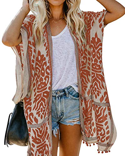 ASALWAYS Damen Chiffon Cardigan Bohemian Print Bikini Cover Up Offene Front Strands Kleidung Lose Kimono Pom Pom Beach Cover Up