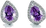 Bowen Jimmy Fashion Crystal Zircon Stud Small Silver Earrings Party Wedding Jewelry,Purple