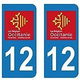 SupStick 2 STICKERS AUTOCOLLANT PLAQUE IMMATRICULATION DEPARTEMENT 12 AVEYRON Region OCCITANIE