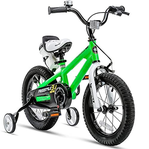 Bicicleta para niños y niñas Freestyle bicicleta 12 14 16 pulgadas con ruedas de entrenamiento, 16 18 20 con pata de cabra, bicicleta infantil (verde, 50 pulgadas con soporte (frenos de mano dual))