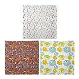 ABAKUHAUS Pack de 3 Bandanas Unisex, Invierno conejito oso y Fox Doodle infantil colorido divertido Peces Arte acuario, Multicolor