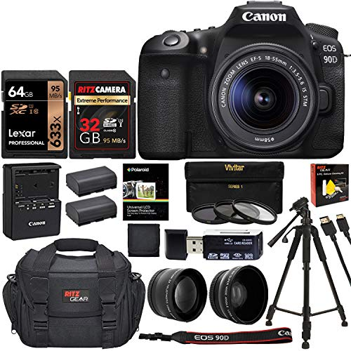 Buy Discount Canon EOS 90D DSLR Camera with 18-55mm Lens, Two Memory Cards, Filter Kit, Camera Bag, ...