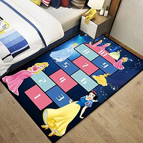 Meinianda Alfombra para niños rectángulo Azul Oscuro Anime Dibujos Animados Rayuela Alfombra Sala de Estar sofá Antideslizante Alfombra para niña 60 * 90cm
