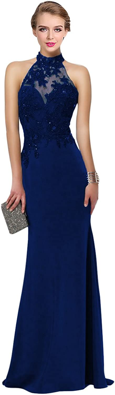 HONGFUYU Stretch Crepe Prom Dress with Lace Halter Sleeveless Open Back Keyhole