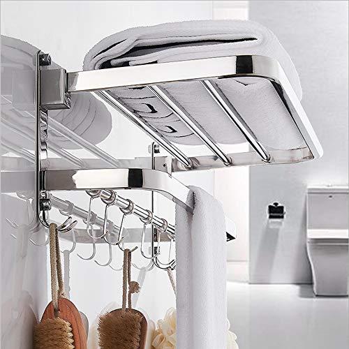 DDS-DUDES Estantes de baño autoadhesivos, toallero sobre la puerta con estante, acero inoxidable, dos niveles, montado en la pared con 5 ganchos