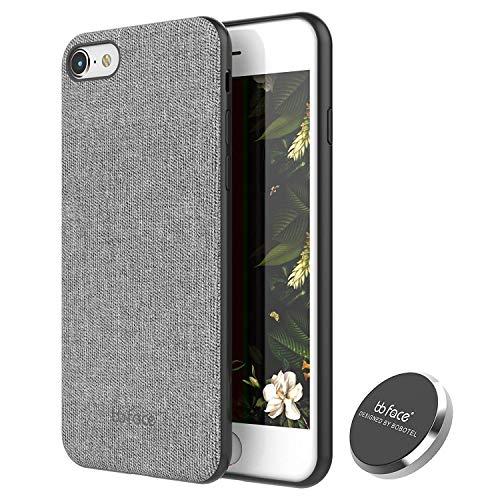 bb face iPhone 7 / iPhone 8 Magnetisch Hülle mit Auto Handy Halterung Stoff Muster Rückseite Cover mit magnetabsorbierenden Funktion (Stützen Sie Nicht Drahtlose Aufladung)- 4.7 Zoll, Grau