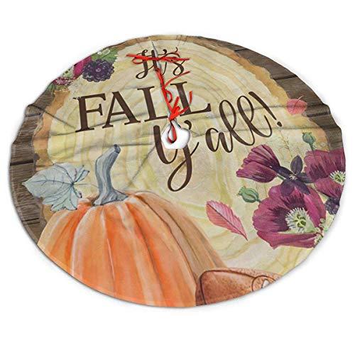 Fall Yall Harvest Autumn Sports Football Themed Round Christmas Xmas Tree Skirt Carpet Mat Rugs Pad Party Favors Supplies Home Decoration 36'