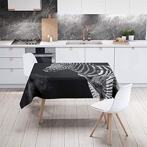 Tischdecke Abwaschbar Garten, DOTBUY Wasserabweisende Tischdecke Rechteckig Abwischbare Wachstuch Desktop Dekorative Tuch Hotel Bankett Party (Schwarzes Zebra,140x140cm)