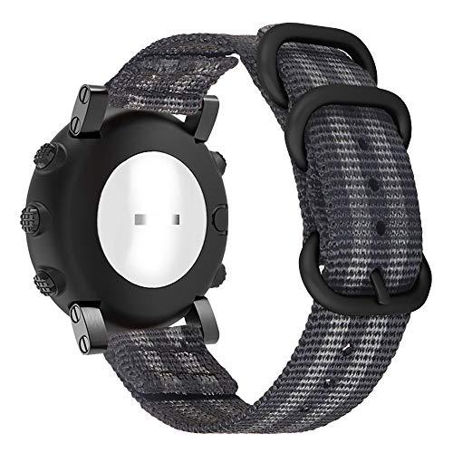 SoonCat Uhrenarmband Kompatibel mit Suunto Core/Traverse/Essential Watch, 24 mm Premium Woven Nylon Verstellbare Ersatz-Sportgurte mit Metallschnalle - Z-Schwarz/Grau