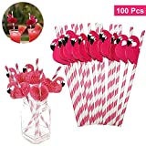 Papier Strohhalme (100 Stück) - Flamingo Vogel Trinkhalme Rosa Biologisch Abbaubare Gestreifte Papierstrohhalm für Hochzeit Geburtstag Party - Papier Trinkhalme - Trinkhalme Papier Strohhalme