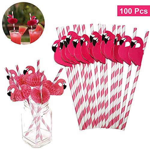 BELLE VOUS Pajitas de Papel (Pack de 100) - 20cm Pajitas Ecológicas Flamenco Rosa - No Toxicas, Biodegradables a Rayas - Pajitas sin Plástico para Fiestas de Cumpleaños, Bodas, Piscinas y Cocteles