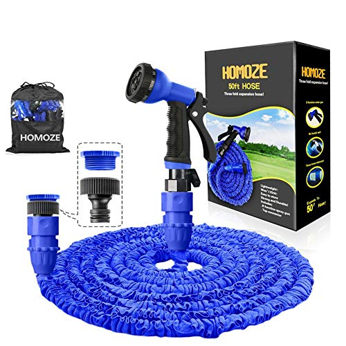 HOMOZE Expandable Garden Hose Pipe 50FT Garden Hose with 3/4', 1/2' Fittings, Anti-leakage Flexible Expanding Hosepipe with 8 Function Spray Nozzle (Blue)