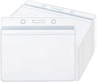 Dadabig 100 pcs porte-cartes en plastique transparent porte-badge d'identification étanche porte-cartes d'identité plastiq...