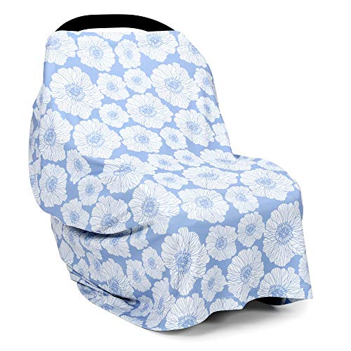TILLYOU Daisy Breastfeeding Nursing Cover, Multi-Use Baby Car Seat Covers, 360°Full Worry-Free Protection, Super Soft Stretchy Breathable Stroller Covers and Shopping Cart Cover