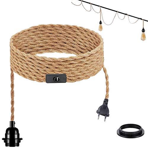 Lámpara de techo industrial, cuerda de cáñamo trenzada, E27, cable eléctrico de...