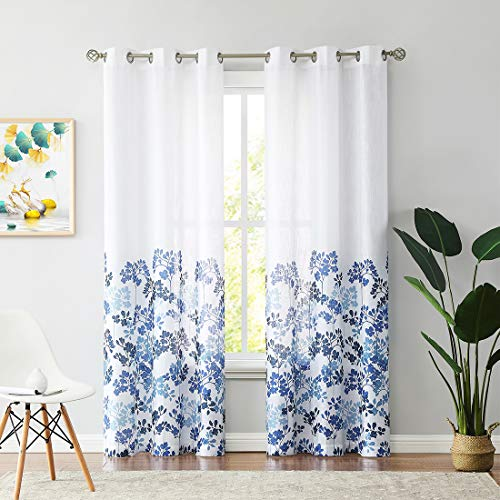 """Leaf Printed Semi Sheer Curtain 84 Inches Long for Living Room and Bedroom, Blue and Navy Farmhouse Grommet Voile Window Drapes 42""""W 2 Panels"""