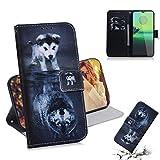 Guran PU Ledertasche Hülle für Motorola Moto G8 Play/Moto One Macro Smartphone Flip Cover Kartenfächer Brieftasche mit Ständer Magnetisch Klappbar Handyhülle H& Wolf Muster
