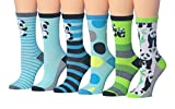 Tipi Toe Women's 6-Pairs Value Pack Panda Bear Animal Novelty Design Comfy Crew Winter Socks,(sock size 9-11) Fits shoe size 5-9, WC53-B