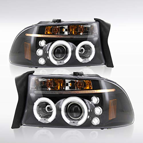 Autozensation Dual Halo Black Projector Headlights for 1997-2004 Dodge Dakota Durango with LED Daytime Running Lights