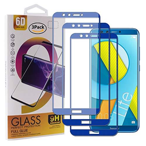 Guran [3 Paquete Protector de Pantalla para Honor 9 Lite Smartphone Cobertura Completa Protección 9H Dureza Alta Definicion Vidrio Templado Película - Azul Oscuro