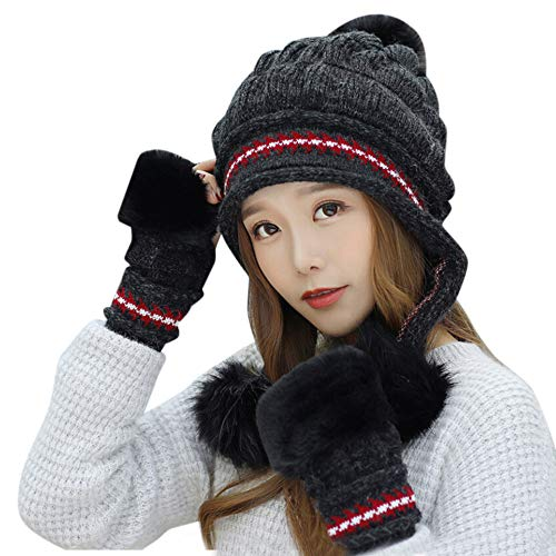 Women Cable Knit Peruvian Beanie Wool Winter Hat Cap with Earflap Pom Gloves 2Pcs Ski Cap Pompoms Wool Beanie Cap Hat for Girl Cold Weather