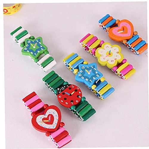 Pinicecore Holz Armbänder Kinder Elastic Uhr Armbänder Kind-Spielzeug-Armband Geburtstag Kindertagesgeschenk für Kinder