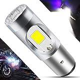 BA20D LED Motorcycle Headlight Bulb 1 COB+3528 LEDs 7.8Watts High Low Beam H6 LED Motorbike Headlamp Super Bright 1200Lumens Double Colors Blue & Xenon White.(1-Pack).