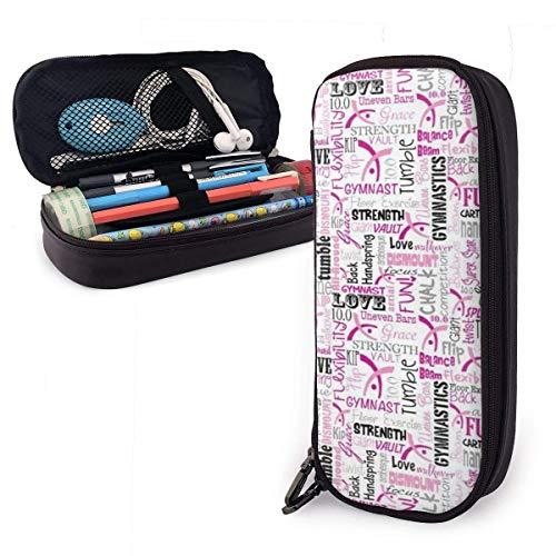 Estuche de piel sintética para lápices de gran capacidad, con doble cremallera, para material escolar, artículos de oficina y bolsa de transporte de viaje (gimnasia), color Gimnasia Rosa talla única
