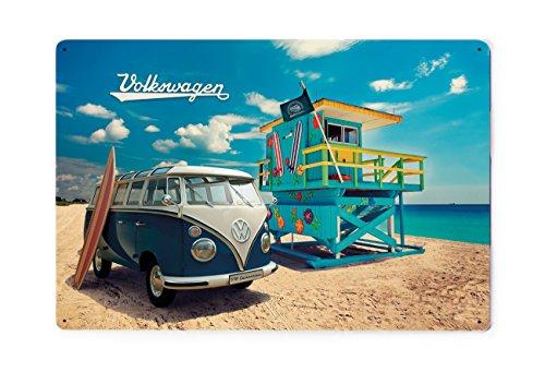 Brisa VW Collection - Volkswagen Furgoneta Hippie Bus T1 Van Placa Metálica, Cartel de Metal para Pared, Chapa Decorativa Vintage, Póster para Hogar/Taller/Regalo/Souvenir (Beach Life/Azul)