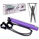 Pilates Bar Kit Portatile Barra per Pilates Fitness Stick Barra per Esercizi con Fascia di Resistenza per i Piedi Attrezzatura per Casa Palestra Fitness Allenamento Allenamento(Rosa) (Viola)