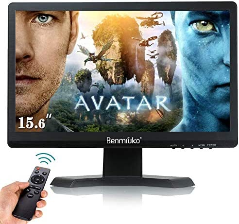 15.6 inch Small tv Monitor LCD Display IPS HDMI PC Portable Monitor 1920×1080 Full HD Video Security Surveillance Monitor Security Camera Display Screen AV/BNC/VGA/USB with Multi-Function