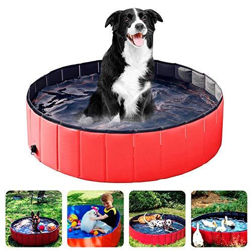 Powcan Piscina Perros y Gatos Bañera Plegable PVC Antideslizante y Resistente al Desgaste Adecuado para Interior Exterior al Aire(80cm*20cm) (Rojo)