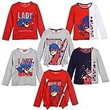 Miraculous LadyBug e Cat Noir - Camiseta de manga larga - Full Print Algodón - Niña, 1100 Rojo, 5 años