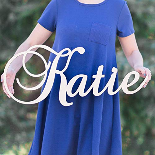 """Custom Personalized Wooden Name Sign 12-55"""" WIDE - KATIE Font Letters Baby Name Plaque PAINTED nursery name nursery decor wooden wall art, above a crib"""
