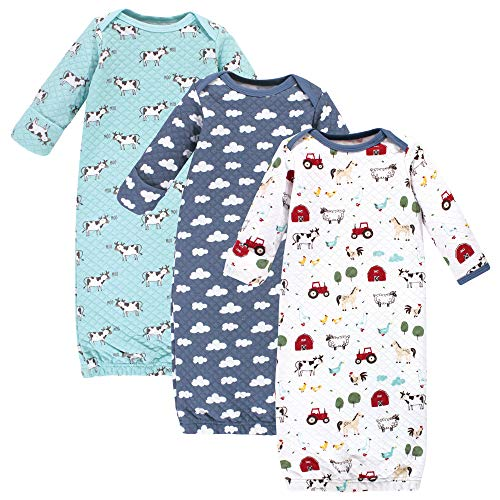 Hudson Baby Unisex Baby Quilted Cotton Gowns 3pk  Boy Farm Animals  0-6 Months