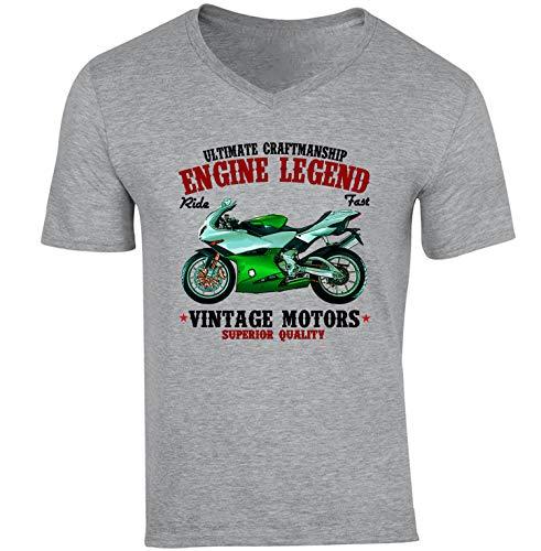 TEESANDENGINES Benelli 900 Tornado - Camiseta con cuello en V para hombre Gris gris S