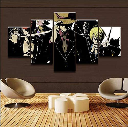 BXZGDJY Modern schilderij kunst poster 5 panelen cartoon spel karakter thema type wand modulaire afbeelding hoofddecoratie jongen kamer canvas afdruk 200 x 100 cm afbeelding foto's op canvas 5-delig poster voor H A8.