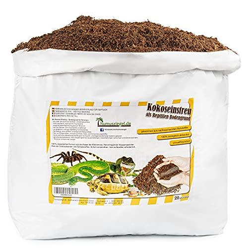 Humusziegel - 20 L Sustrato para Terrarios - Tierra de Fibra de Coco Suelta y Seca para Macetas - Sustrato Natural y sin Turba para Reptiles y Anfibios