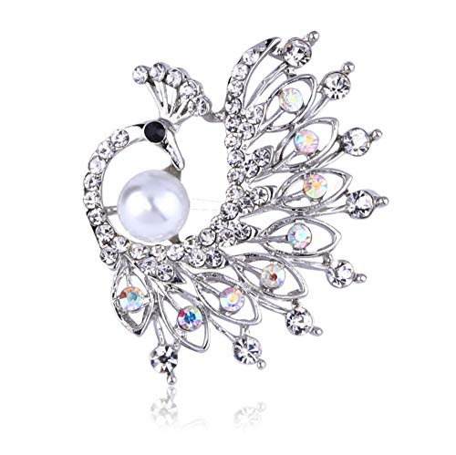 N/W Brooches/Pins For Women Peacock Brooch Rhinestone Imitation Pearl Bird Brooch Jewellery Brooch Pins Gift