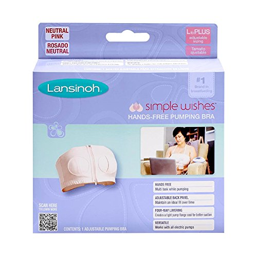 Lansinoh Simple Wishes Hands Free Breast Pump Adjustable Bra Pink Size L to Plus