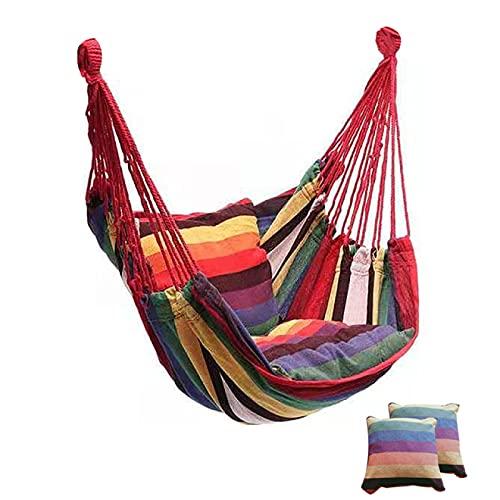 IANSISI Hängemattenstuhl,Hängestuhl Hängesessel mit 2 Kissen,Schaukelstuhl für Freizeit-Schaukel im Freien, für Terrasse, Veranda, Schlafzimmer, Garten, unter Baum