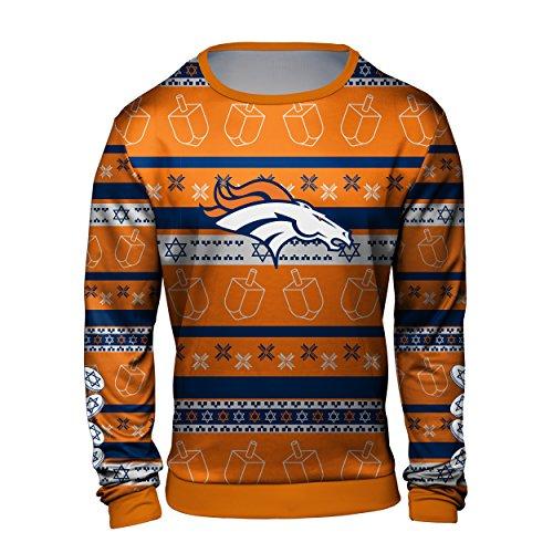 永远的收藏品丹佛野马光明节印制丑陋的圆领毛衣-男子特大号