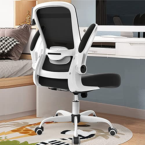 Mimoglad Office Chair, Desk Chair with Flip-up Armrest, Ergonomic Task Chair, 360° Rotation Seat Computer Chair Back Support Adjustable Height Mesh Executive Chair for Home Office (White)