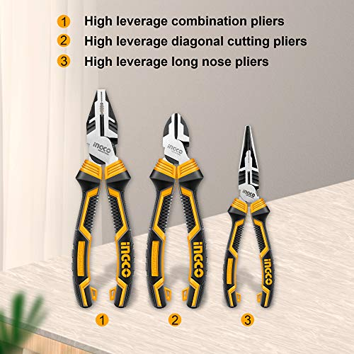 """INGCO 3 PCS High Leverage Pliers Set, 8"""" Combination Pliers and 7"""" Diagonal Cutting Pliers and 6"""" Long Nose Pliers HKHLPS2831"""