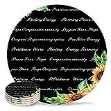 Posavasos de cerámica con citas inspiradoras de girasol, piedra absorbente, parte trasera de corcho para tipos de tazas y tazas, posavasos de mesa redonda negra (juego de 4)