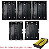 18650 Battery Case Holder, 5 Pack 3 Slots x 3.7V DIY Battery Storage Box, in Parallel Black Plastic Batteries Case with Pin for Soldering 3 x 18650, by Ltvystore
