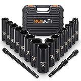 REXBETI 1/2-Inch Drive Deep Impact Socket Set, Laser-etched Markings, Metric, CR-V, 6 Point, 18-Piece Set