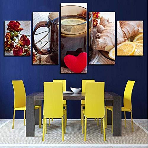 Wslin canvas afdrukken Hd Prints Wooncultuur gember 5 stuks muurkunst citroen thee modulaire afbeeldingen bloemen canvas schilderij voor woonkamer kunstwerk poster afdrukken op canvas 200X100cm