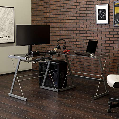 Walker Edison Modern Corner L Shaped Glass Computer Writing Gaming Gamer Command Center Workstation Desk Home Office, Single, Smoke Grey
